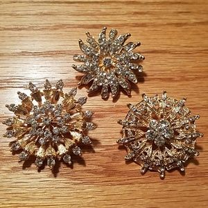 3 Gold/Gem Brooches